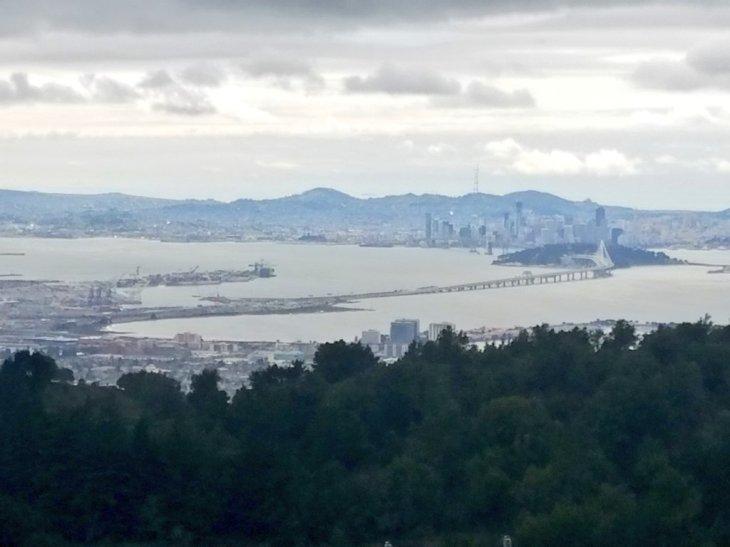 The San Francisco-Oakland Bay Bridge from Vollmer Peak